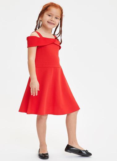 DeFacto Kız Çocuk Askılı Örme Elbise Kırmızı